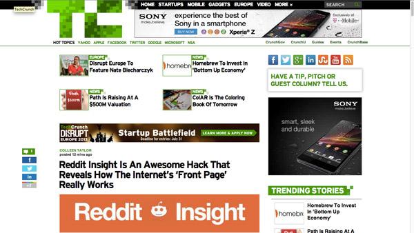 Reddit Insight on Tech Crunch